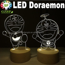 led art sculpture lights 3D doraemon night lights, led desk lamp with base