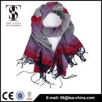 New arriving 100% acrylic fashion checked scarfs and stoles