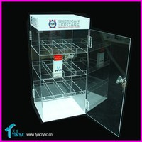 Factory Wholesale Acrylic Stand For Electronic Cigarette Liquid 3 Level Acrylic E-Liquid Display Case With Key