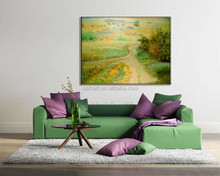 Garden art creative yellow green grassland autumn scenery decoration abstract oil painting in canvas