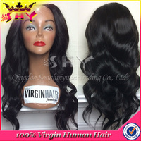 Top quality body wave 20inches natural color full lace wig with highlights