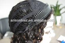 wholesale price brown curly human hair half wig