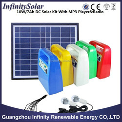 10W/7Ah solar power system with radio and mp3 player for small home use, price 45-50usd