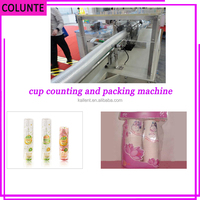 automatic counting disposable paper Aviation PET Juice cup packing machine