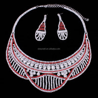 NE122 Red Crystal Necklace Wholesale In Yiwu Market Just Like A Smile Face Shaped Wedding Jewelry Set For Women