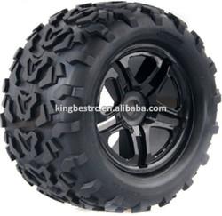 17mm 1/8 Monster Bigfoot Rubber Wheel Rims Tyre Tires 4pcs RC Model Car