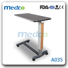 Adjustable over bed table for hospital bed A035