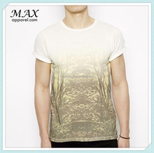 T-Shirt with Wood Print men t-shirt Crew neck Rolled cuffs china manufacture men t-shirt Graphic printt fashion tshirt