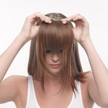 brown neat women accessories clip-on human hair bangs