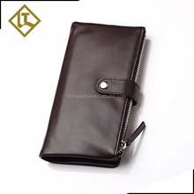 Luxury hot sell design your own leathe famous brand purse double zipper wallet