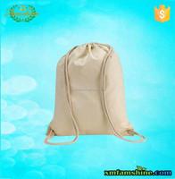 customized natural cotton plain drawstring bags