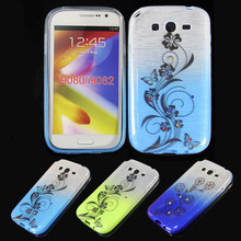 2014 Hot Selling Gradient Color Flower Pattern Design Soft TPU Fancy Case for Samsung Galaxy i9082