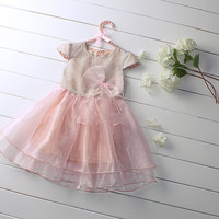 Free Shipping Summer 2015 Little Girls Dresses Lightspot Mesh With Bow Pink Girl Dress Child Clothes Cheapest Price GD50312-4