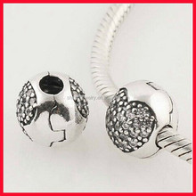In stock wholesale 925 sterling silver glass big hole beads shoelace charm