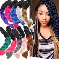 12 color Ombre X-pression kanekalon jumbo braiding hair 48 inch synthetic two tone color jumbo braid hair