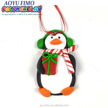 Yiwu China suppliers Xmas penguin polymer clay decoration for christmas party gift