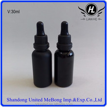 Hot sale 1oz shining black essential oil glass bottle with dropper