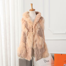 Newest design pink color knitted women fox fur vest