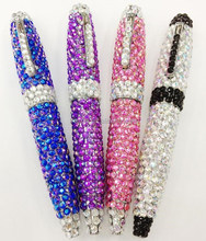 Small beautiful jewelled bling metal ball pen with crystal