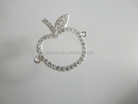 Fashion 925 silver plant charm white sapphire cz paved fruit charm cute apple charm with cz paved accessories