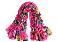 ingrosso di girasole disegno stampato sciarpa della fabbrica di porcellana donne moda estate 2015