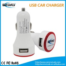 New design Colorful Dual USB car battery charger for Smartphone and Tablet