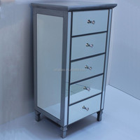 JSN053 antique mirrored bedside chest mirrored nightstand bedroom 5 drawer nightstand chest mirror bedside 5 drawer