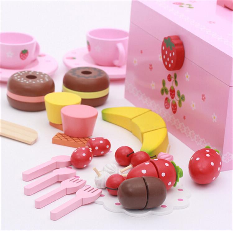 Kinderen houten keuken speelgoed groenten en fruit snijden spel ...