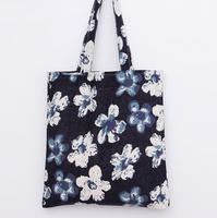 TT0080 Reshine No Zipper Closure Flower Printed Linen Canvas Lining Tote Bag Eco-friend Shopping Bag