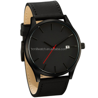 Classic alloy metal case with faux leather strap waterproof stainless steel back watch men