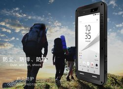For Sony Xperia Z5 Waterproof Shockproof Dirtproof Snowproof Aluminum Hard Metal Case Cover with Gorilla Glass Screen Protector