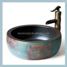 Aquarius oem&Odm Public hand painted ceramic double sink bathroom vanity