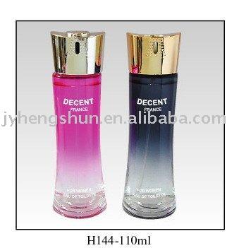110 ml de perfume de envases de vidrio con decoración de cosméticos botella de spray con cápsula de aluminio