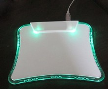 OEM CUSTOM ABS+PS GREEN AND BLUE LIGHT led mouse pad with 4 usb hub AND WRIST REST