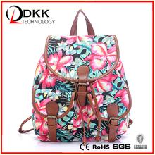 DKK-P054 Floral Printed Canvas Backpack College New Fashion Girls' School Bag Flowers Women Rucksack