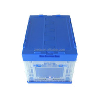 Plastic transparent box with blue top cover collapsible plastic storage container