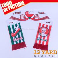 Promotional latest design Oman National Day gift waving knitting scarf man fashional shawl