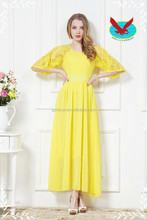 Spring/summer 2014 new original yellow bud silk chiffon dress Bohemia beach dress