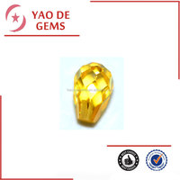 Wuzhou 4*6mm golden yellow water drop faceted loose cubic zircon gems