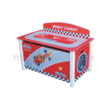 HT-SCTB01 70x40x37/49(H)cm E1 Standard MDF Easy Assembly Racing Car Toy Box For Kids Above 3 Years Old, Eco-friendly Furnitures
