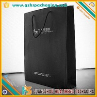 Gift durable black paper carrier bag with company logo wholesale