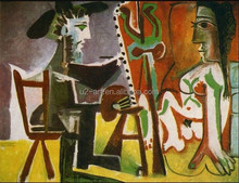 Picasso Painter and his model famous painting wallpaper