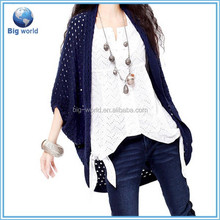 Loose new fashion joker knitted women's batwing sleeve sweater cardigan women hollow out pure color made by BigWorld
