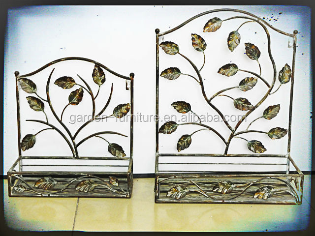 Wholesale 3 tier shelf with hooks wrought iron modern Metal wall decor cheap