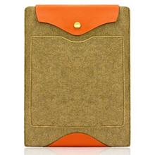 Custom Real Leather Bottom Bag Magnetic Button Felt Laptop Case
