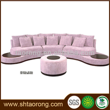 Modern design u shape wooden and fabric pink sofa furniture