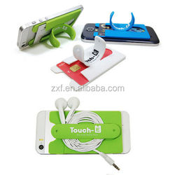 1-f U Shape, Touch U,silicone phone stand with printing logo for christmas promotional cell phone holder Mobile phone hoder