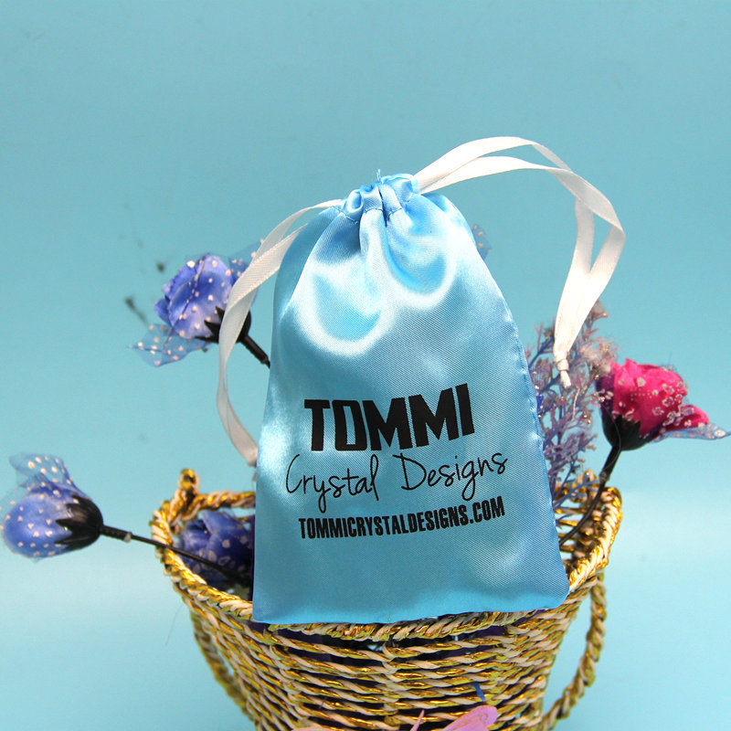 Excellent quality custom blue satin favor bags with logo