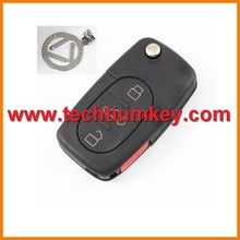 3+1 button High quality remote key shell blank case with metal logo and 2032 big battery for Audi A1 remote key cover shell