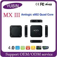 Android 4.4.2 Kitkat 2GB 8GB Amlogic S802 Quad Core TV Box MX III karaoke hd media player